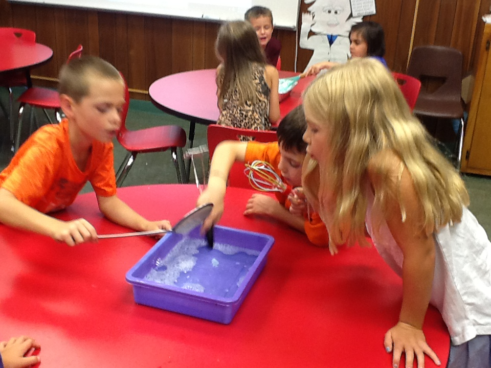 While talking about inventors we experimented with different ways objects we could blow bubbles with
